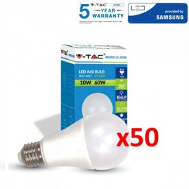 Pack 50 - LED V-TAC VT-209 9W E27 Samsung Chip 3000K