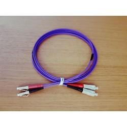 Jarretière Duplex LSOH 50/125 Multi OM3 10Gb LC UPC/SC UPC Violet 1m