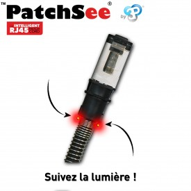PatchSee PCI6-U/2 - Cordon RJ45 Cat6a UTP - Noir - 0.6m