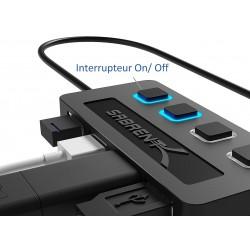 Hub USB2.0 4 ports + commutateurs individuel HB-UMLS