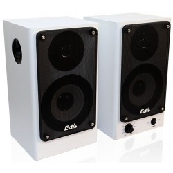 Enceintes actives Murales EDIS 2x20W RMS Télécommande filaire -Blanc