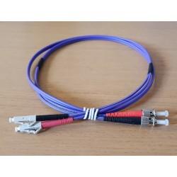Jarretière Duplex LSOH 50/125 Multimode OM3 LC UPC/ST UPC Violet 1m
