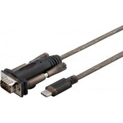 Cable convertisseur USB-C mâle vers DB9 RS232 mâle - Env 1,50m