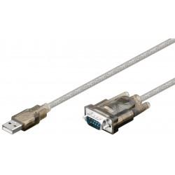 Cable convertisseur USB A mâle vers DB9 RS232 mâle - Env 1,80m