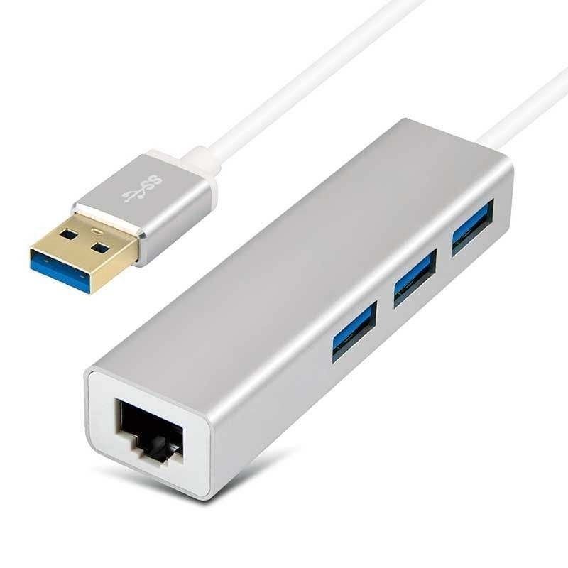 Adaptateur USB3.0 Type A Mâle vers 3x USB3.0 Femelles et RJ45 Giga