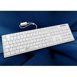 Clavier AZERTY FR mécanique, revêtement antimicrobien, Blanc, USB