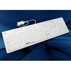 Clavier AZERTY FR mécanique revet. silicone & antimicrobien Blanc USB