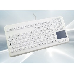 Clavier AZERTY 104T Silicone Rigide Lavable IP68 TouchPad Blanc USB