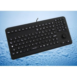 Clavier AZERTY 104T Silicone rigide Etanche IP68 + Mouse Button Noir