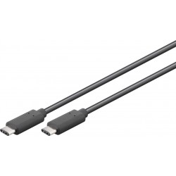 Cordon USB type C 3.1 SuperSpeed - Mâle / Mâle - Noir 2m