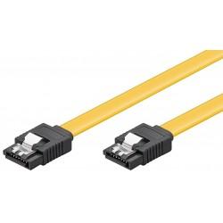Câble S-ATA I/II/III  jusqu'à 6Gbits - M/M - verrou - Jaune 0,50m