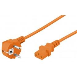 Cordon d'alimentation secteur FR Coudé vers C13 Droit - Orange 2m
