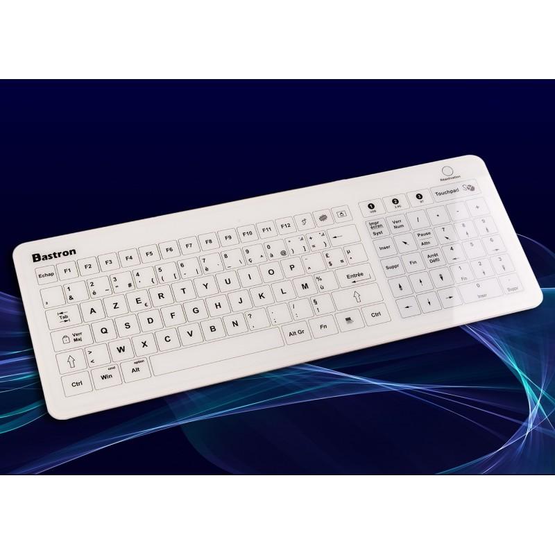 Clavier tactile + Touchpad, ret audio, ajust IP67 Blanc Bluetooth