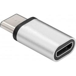 Adaptateur USB-C Mâle vers MicroUSB B Femelle Blanc - monobloc