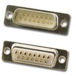 Connecteur SUBD 15 mâle à souder, fond blanc