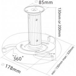 Support VP Plafond ext 13 à 20 cm Gris 360° - 10kg