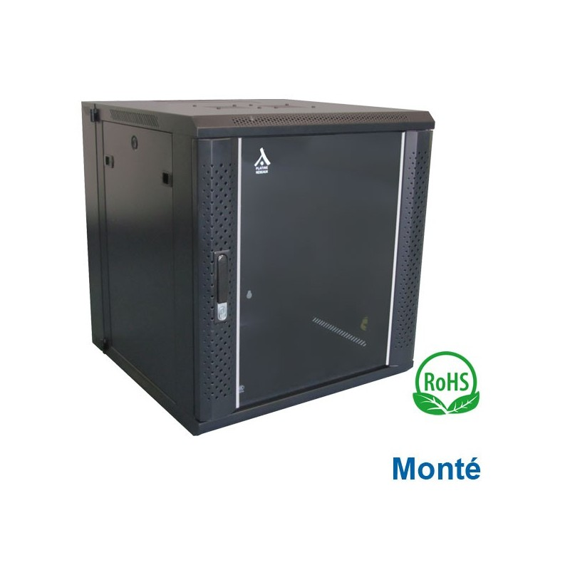 """Coffret 19"""" 9U Pivotant dim 600x600x501 - Monté - Charge 60Kg"""