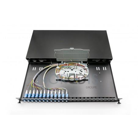 """Tiroir optique 19"""" - 24FO OS2 LC Monomode 2x 12 Pigtails & 1 Cassette"""
