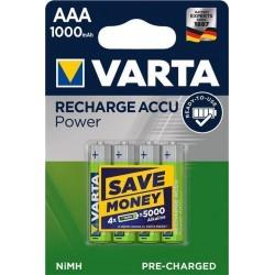 Blister 4 piles rechargeables AAA 1000 mAh NiMH Varta